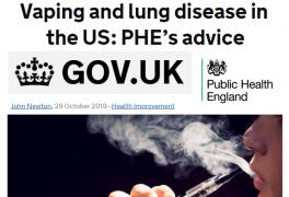 Conselhos da Public Health England sobre o vaping e doenças pulmonares nos Estados Unidos